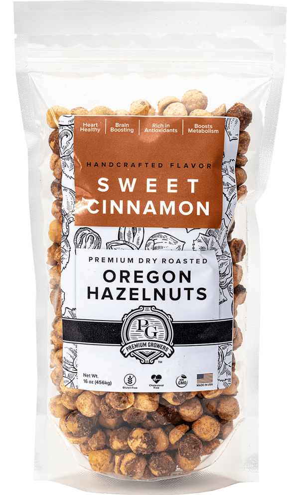 Premium Growers - Oregon Roasted Hazelnuts - Sweet Cinnamon