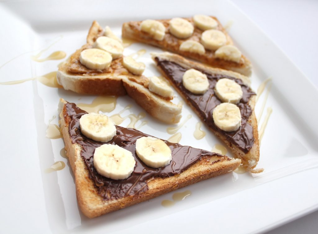 homemade vegan nutella recipe on toast with bananas