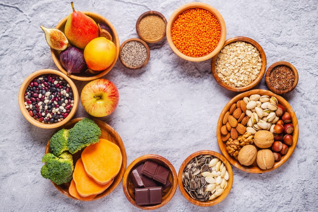 Products rich in fiber. Healthy diet food.