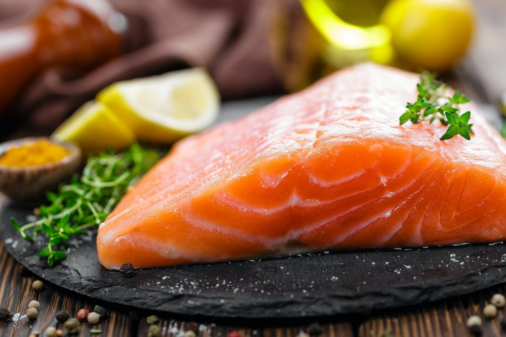 salmon contains a high amount of omega-3
